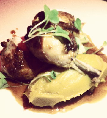 Lightly manuka-smoked roast chicken + hangi-style kumara puree, baby leeks, native greens & pan jus