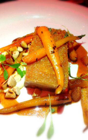 Crispy Pork Belly with pickled baby carrots, almond puree and sage & apple sauce